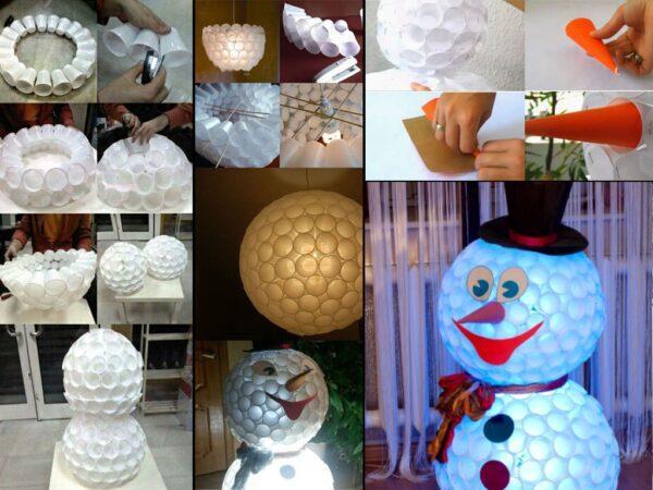 Снеговик из пластиковых стаканчиков своими руками пошагово (130 фото) — инструкция по созданию своими руками, примеры лучших поделок