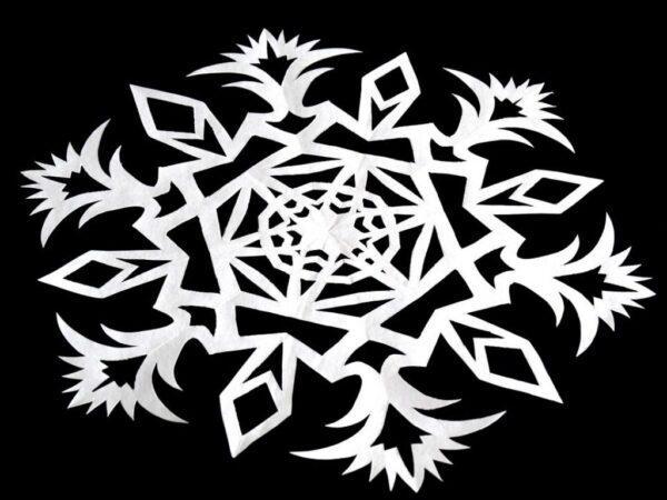 Трафареты снежинок на Новый Год для вырезания из бумаги на окна — учимся делать своими руками (120 фото)